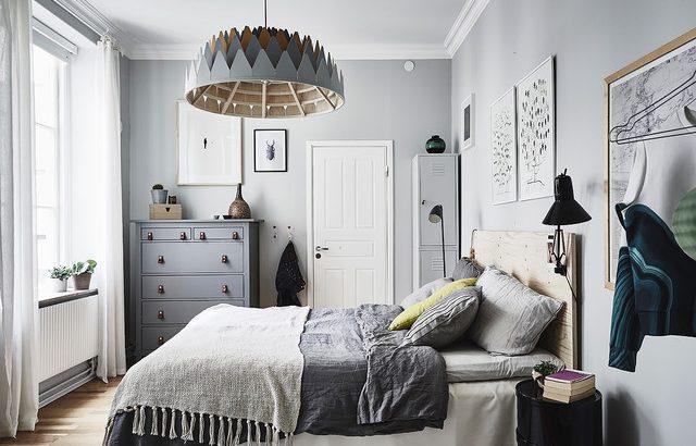 habitación de color gris